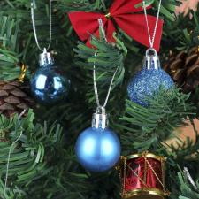 112 részes karácsonyfadísz, türkiz karácsonyi dekoráció