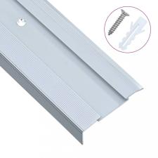 15 db ezüstszínű L-alakú alumínium lépcső élvédő 90 cm építőanyag