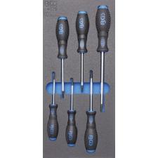 1/3 szerszámtálca szerszámkocsihoz: 6 részes Torx csavarhúzó készlettel, T15-T40 (BGS 4078) autójavító eszköz