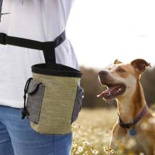 2 az 1-ben jutalomfalat tartó, bézs-szürke kutyafelszerelés