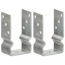 2 db ezüstszínű horganyzott acél kerítéshorgony 8 x 6 x 15 cm építőanyag
