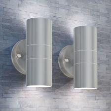2 db fel/lefelé világító, rozsdamentes acél kültéri LED falilámpa kültéri világítás