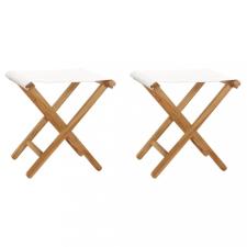 2 db krémfehér tömör tíkfa és szövet összecsukható szék kerti bútor