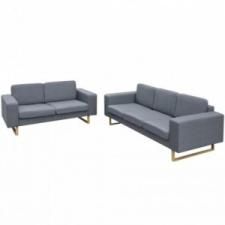2 személyes és 3 személyes kanapészett világosszürke bútor
