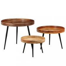 3 részes tömör mangófa/acél asztalszett kerti bútor