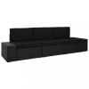 3 személyes fekete elemes polyrattan kanapé