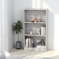 3-szintes betonszürke forgácslap könyvszekrény 60x24x108 cm bútor