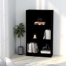 3-szintes fekete forgácslap könyvszekrény 60 x 24 x 108 cm bútor