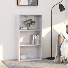 3-szintes fényes fehér forgácslap könyvszekrény 60x30x114 cm bútor