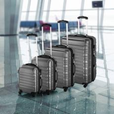 4 db-os merev falú bőrönd szett szürke