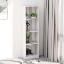 4-szintes magasfényű fehér forgácslap könyvszekrény 40x24x142cm bútor