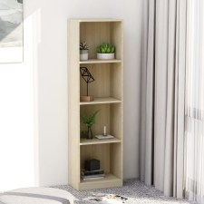 4-szintes sonoma színű forgácslap könyvszekrény 40x24x142 cm bútor