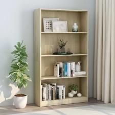 4-szintes sonoma színű forgácslap könyvszekrény 80x24x142 cm bútor