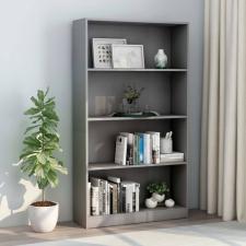 4-szintes szürke forgácslap könyvszekrény 80 x 24 x 142 cm bútor