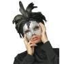 Cottelli Collection Ezüstös álarc - fekete tollal maszk