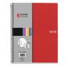 MIQUELRIUS Note Book 6 spirálfüzet, műanyag borítós, kockás, A4, piros