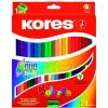 KORES DUO kétvégű színes ceruza, háromszögletű, 48 db/doboz