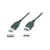 USB 3.0 hosszabbító, A/A típusú, 3 m, fekete