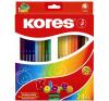 KORES TRIANGULAR színes ceruza, háromszögletű, 24 db/doboz színes ceruza