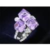 Fehérarannyal bevont lila kockás gyűrű Swarovski jellegű kristályokkal  #7  + AJÁNDÉK DÍSZDOBOZ