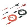 SKS HIRSCHMANN PMS 4 1000mm hosszú 3mm-es egymásba toldható banándugóval ellátott többfunkciós fekete-piros mérőkábel készlet, mérőzsinór készlet, műszerzsinór készlet