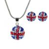 18 karátos fehérarannyal bevont brit zászlós ékszerszett kristályokkal  + AJÁNDÉK DÍSZDOBOZ