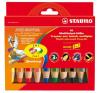 STABILO Woody színes ceruza készlet, kerek, vastag, 10 különböző szín színes ceruza