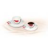 ROTBERG Mokkáskészlet, porcelán, 10 cl, ROTBERG fehér, piros-fekete mintával