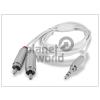 Haffner 3,5 mm sztereó jack - 2 RCA audio kábel 150 cm-es vezetékkel - fehér