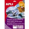 """APLI Etikett, CD/DVD, A4, teljes lefedettségű, fényes, fotó minőségű, APLI """"Mega"""""""