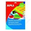 APLI Etikett, 99,1x67,7 mm, színes, kerekített sarkú, APLI, neon sárga, 160 etikett/csomag (LCA2874)