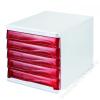 HELIT Irattároló, műanyag, 5 fiókos, HELIT, szürke/piros (INH6129420)