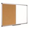 . Kombi tábla, fehér/parafa, 100x200 cm, alumínium keret,