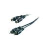 Audio kábel, 2 x RCA dugó/alj, 3 m, fekete, SpeaKa 50312