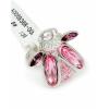 Ródiummal bevont bogaras gyűrű rózsaszín Swarovski kristályokkal #7 + AJÁNDÉK DÍSZDOBOZ