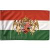 Nemzeti színű barna angyalos zászló 15x25 cm, 40 cm-es műanyag rúddal