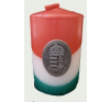 Nemzeti színű henger gyertya 10cm, ón címerrel (3,2x4 cm) ajándéktárgy