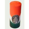 Nemzeti színű henger gyertya 15 cm, ón Kossuth címerrel (3,2x4 cm)