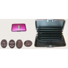 Bankkártya tartó metál pink színű ón koszorús címer matricával