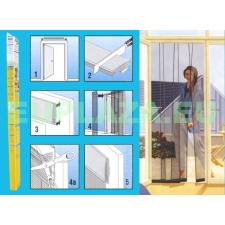 Szúnyogháló, ajtóra, szalagfüggöny, 125cm széles öntapadó felső sínnel, 5db nehezékkel, antracit, 220 x 28,5cm x 5db szúnyogháló