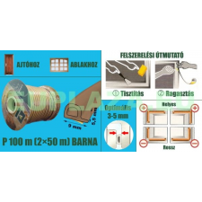 Ablakszigetelő, ajtószigetelő, öntapadó tömítőprofil, P, barna, 9 x 5,5 mm x 100 m barkácsolás, csiszolás, rögzítés