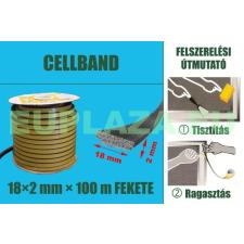 Gumi szigetelő, öntapadó gumiprofil, Cellband, fekete, 18 x 2 mm x 100 m barkácsolás, csiszolás, rögzítés
