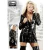 Lakk kabátruha - fekete