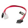 4world HDD Cable | SATA 3 | 13pin Slimline SATA (F) - 7pin SATA (F) & LP4 | 30cm