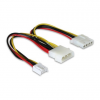 DELOCK Y-cable power Molex 4pin male > Molex 4pin female + 3.5 FDD 82111
