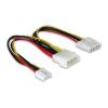 DELOCK Y-cable power Molex 4pin male > Molex 4pin female + 3.5 FDD 82111