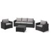 California műrattan kerti bútor szett 4 részes 3 személyes kanapéval szürke