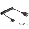DELOCK kábel USB micro-B male 90 fokos to USB 2.0-A female OTG, spirál kábel