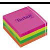 TARTAN Öntapadó jegyzettömb, 76x76 mm, 400 lap, , vegyes neon színek