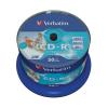 Verbatim CD-R lemez, nyomtatható, matt, no-ID, AZO, 700MB, 52x, hengeren,